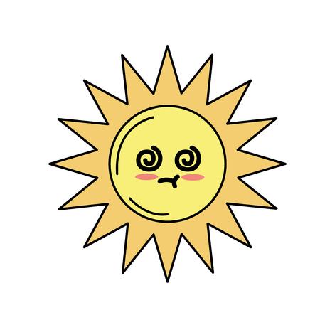 kawaii cute sick sun emoji vector illustration