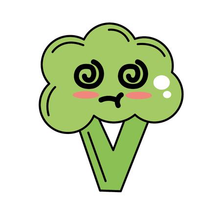 kawaii cute sick broccoli vegetable