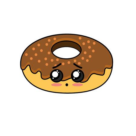 cute kawaii donut sad expression Illustration