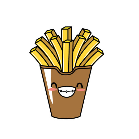 frites: cute french fries smile and happy