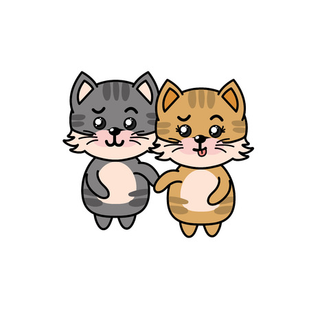 beautiful cute animals with expression face Illustration