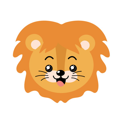 cute lion wild animal with face expression
