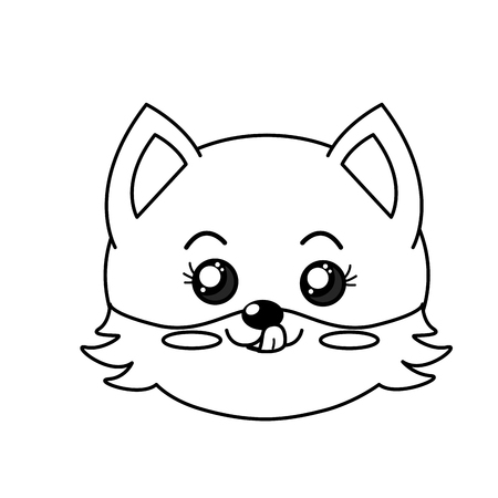 cuteness: line cute wild animal face with expression vector illustration