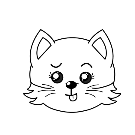 line cute wild animal face with expression vector illustration