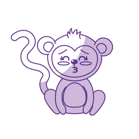 cuteness: silhouette cute monkey wild animal with face expression vector illustration Illustration
