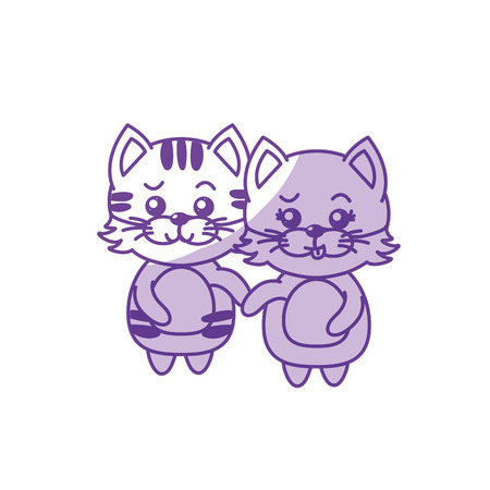 silhouette cute couple cat wild animal with beautiful expression vector illustration Illustration