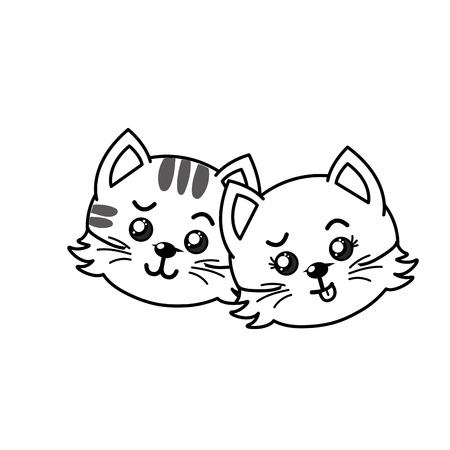 line cute couple wild animal with beautiful expression vector illustration