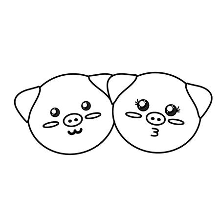 joyful: line cute couple wild animal with beautiful expression vector illustration