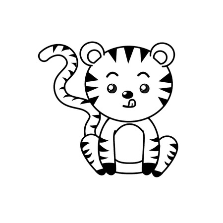 cuteness: line cute tiger wild animal with face expression vector illustration