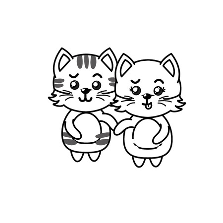 line cute couple cat wild animal with beautiful expression vector illustration