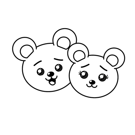 cuteness: line cute couple wild animal with beautiful expression vector illustration