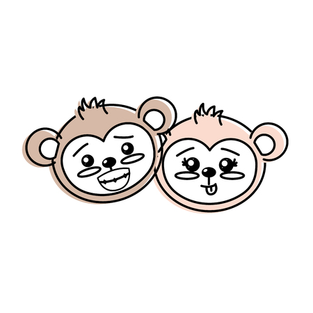 cute couple wild animal with beautiful expression vector illustration