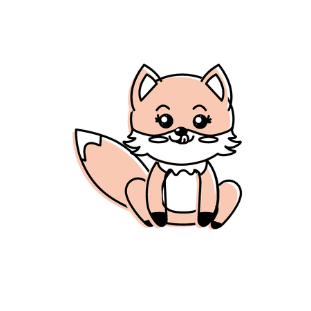 cute fox wild animal with face expression vector illustration