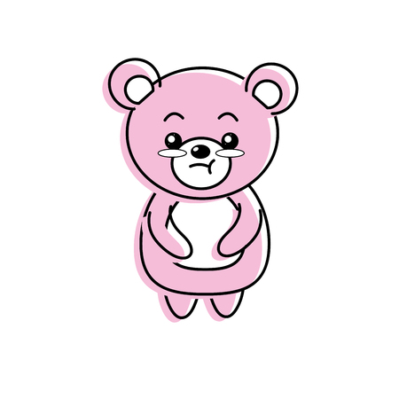 cute bear wild animal with face expression vector illustration