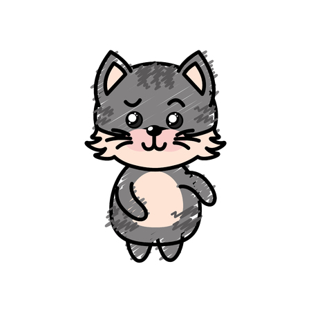 cuteness: cute cat wild animal with face expression vector illustration Illustration