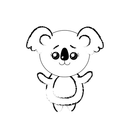 cuteness: figure cute koala wild animal with face expression vector illustration Illustration