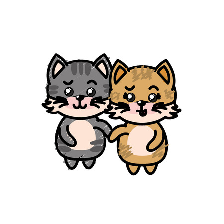 cute couple cat wild animal with beautiful expression vector illustration Illustration