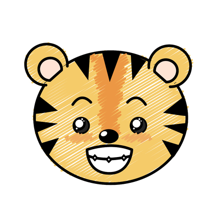 cuteness: cute wild animal face with expression vector illustration Illustration