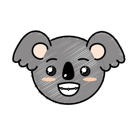 cute wild animal face with expression vector illustration Illustration