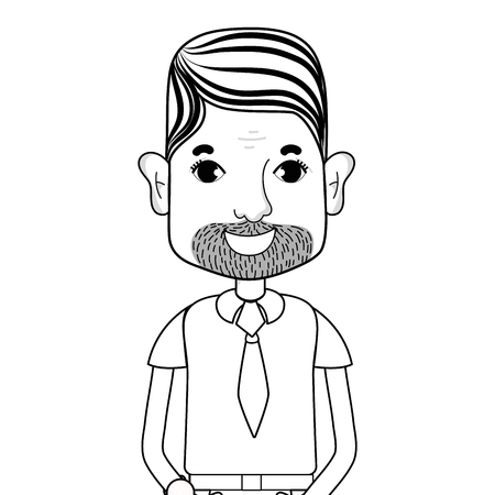 line man with beard and hairstyle vector illustration