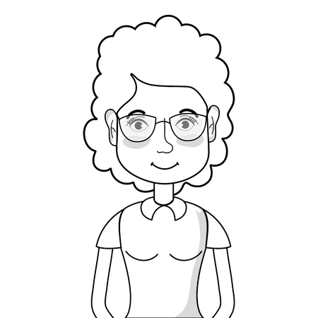 line woman with hairstyle and glasses vector illustration Illusztráció
