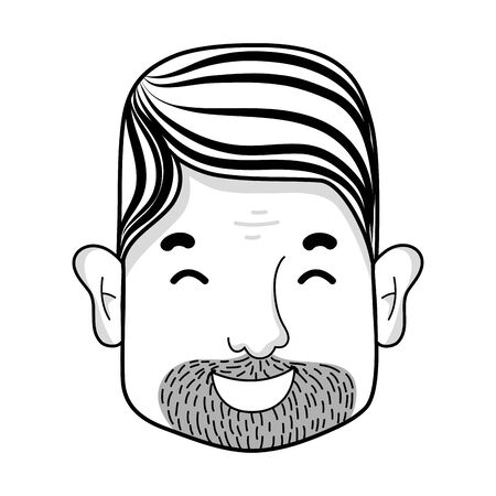 features: line man face with hairstyle and beard vector illustration