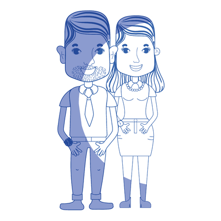 silhouette nice couple with hairstyle and casual clothes, vector illustration