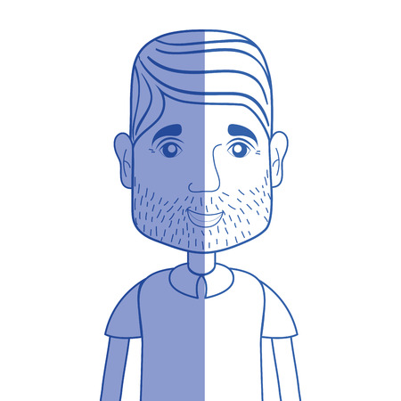 silhouette man with beard and hairstyle vector illustration
