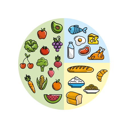 Fruits and vegetables with protein food vector illustration.