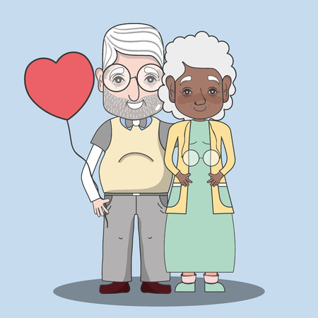 old people couple together forever with balloon