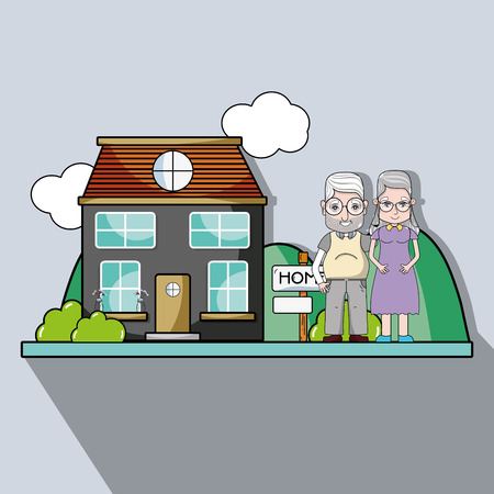 Old couple together next their house.