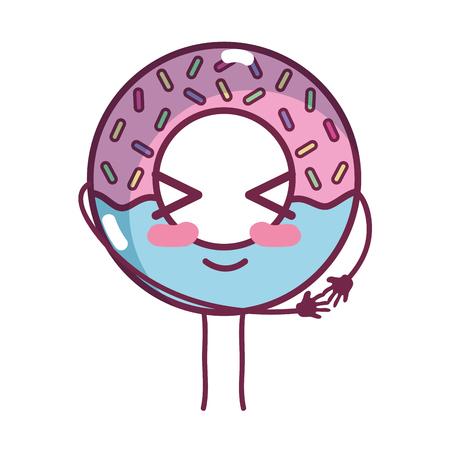 kawaii cute funny donut dessert Illustration