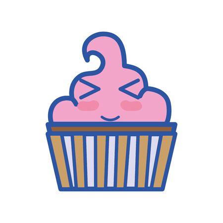 Kawaii cute funny muffin dessert vector illustration.