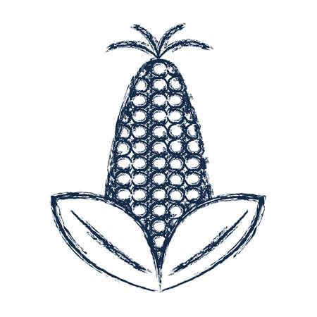 sweetcorn: figure delicious and healthy corn vegan food vector illustration