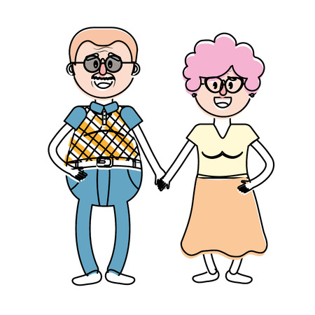 parenthood: old couple with hairstyle and glasses