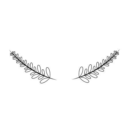 Lijn rustieke takken met bladeren decoratie ontwerp