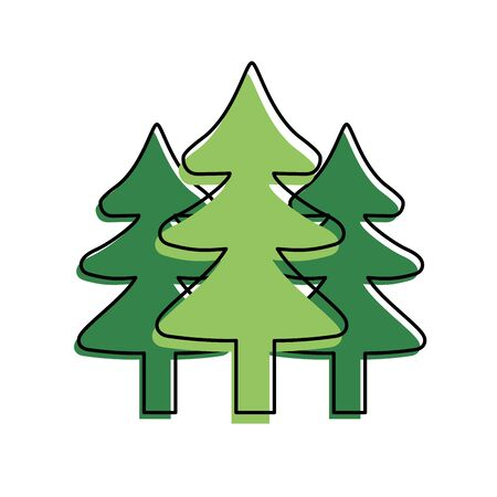natural pine trees to ecology reserve vector illustration Illustration