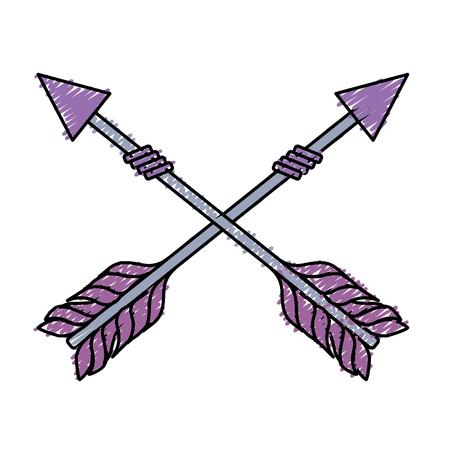 rustic arrows with ornamental design vector illustration