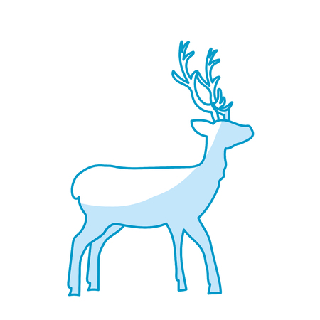 deer wild animal to natural reserve vector illustration