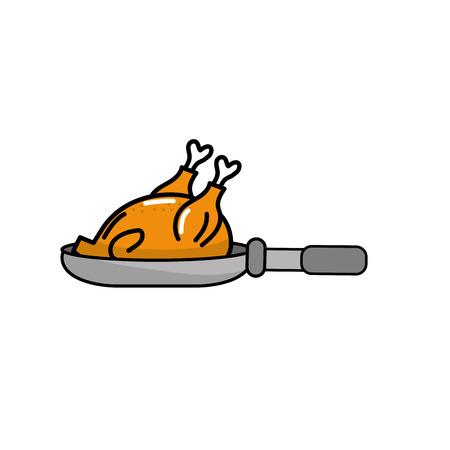 delicious chicken inside skillet pan vector illustration
