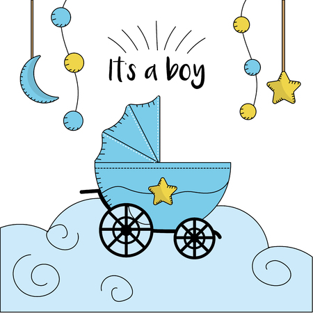 baby and mother: baby shower card to welcome a boy vector illustration