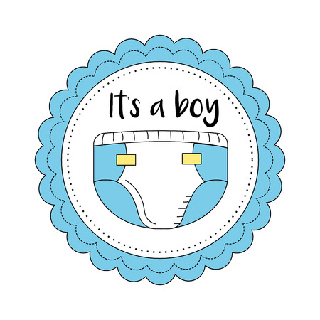baby and mother: baby shower emblem to welcome a boy vector illustration Illustration