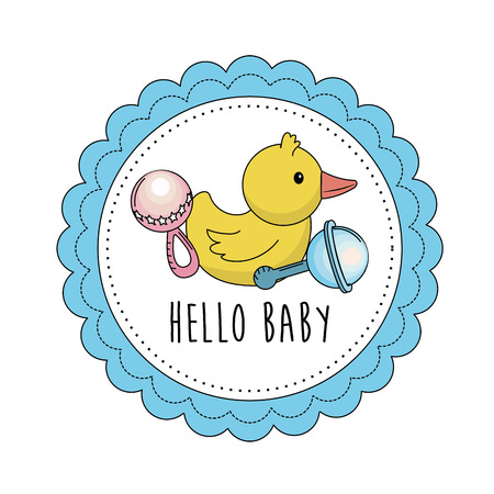 baby shower emblem to welcome a child vector illustration