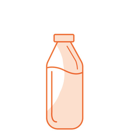 milker: silhouette milk bottle glass with calcium nutrients vector illustration