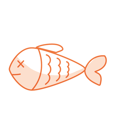silhouette delicious fish food with natural nutrients vecctor illustration