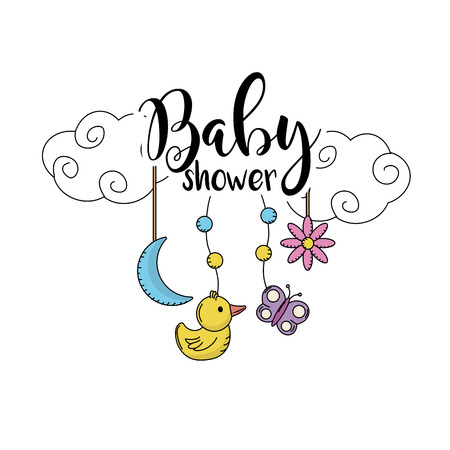 children party: baby shower to welcome a child in the family vector illustration