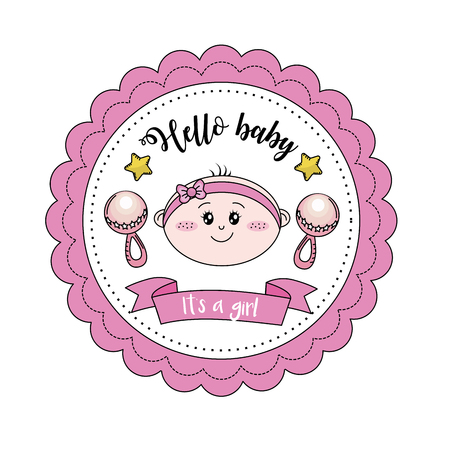 baby shower emblem to welcome a gril vector illustration