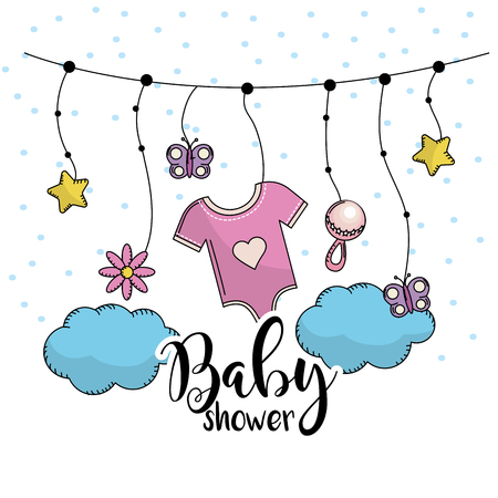 pijama: baby shower to welcome a child in the family vector illustration