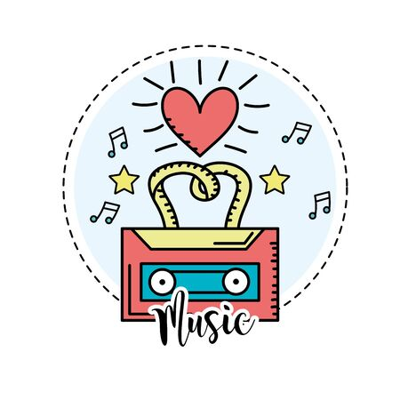 listen to music: cassette to listen and play music vector illustration Illustration