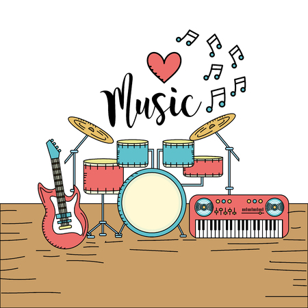 musical instruments to play music vector illustration